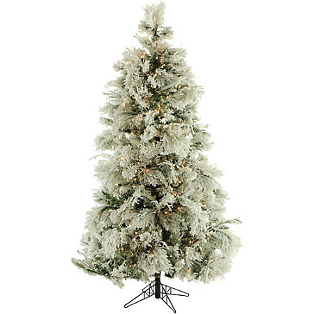 Fraser Hill Farm Snowy Alpine Christmas Trees, 2', With Clear Lights, Set Of 2