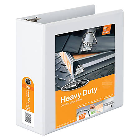 "Wilson Jones® Heavy-Duty View Binders, 385, With No-Gap D-Rings, 4"" Rings, 48% Recycled, White"