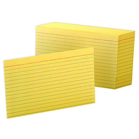 """Oxford® Color Index Cards, Ruled, 4"""" x 6"""", Canary, Pack Of 100"""
