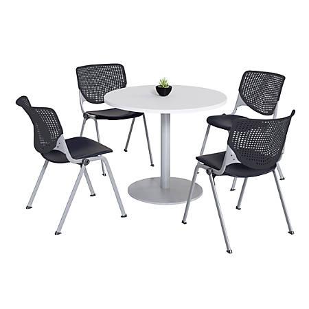 "KFI Studios KOOL Round Pedestal Table With 4 Stacking Chairs, 41""H x 36""D, Designer White/Black"