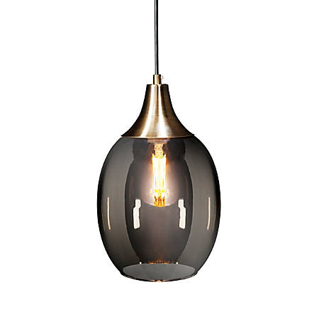 "Southern Enterprises Harlem Pendant Lamp, 10-1/4""H, Smokey Gray Shade/Antique Bronze Base"