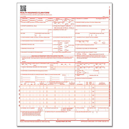 """ComplyRight™ CMS-1500 Health Insurance Claim Form (02/12), Laser-Cut Sheet, 8 1/2"""" x 11"""", White, Case of 250"""