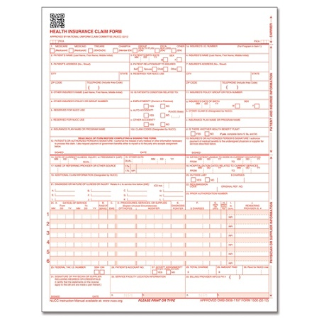 Complyright cms 1500 health insurance claim form 0212 laser cut complyright cms 1500 health insurance claim form 0212 laser cut sheet 8 12 x 11 white case of 250 by office depot officemax thecheapjerseys Images