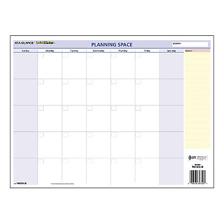 "AT-A-GLANCE® QuickNotes® Reversible Monthly/Yearly Compact Erasable Wall Calendar, 16"" x 12"", Multicolor, January To December 2020, PM550B28"