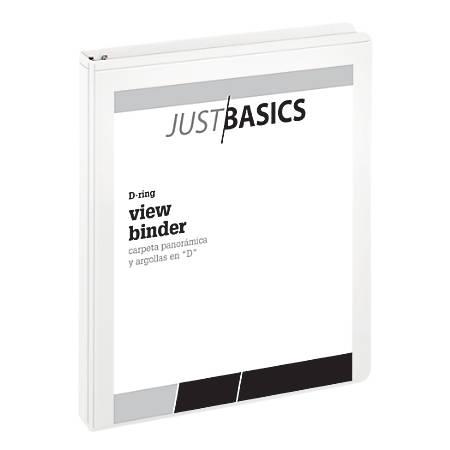 "Just Basics D-Ring View Binder, Basic, 1"" Rings, 38% Recycled, White"