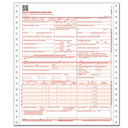 complyright cms 1500 health insurance claim form 0212 2 part