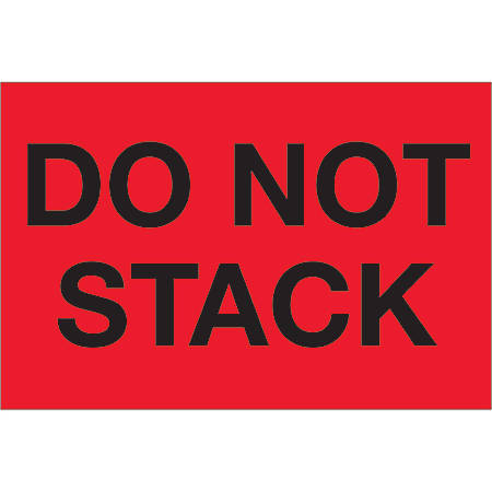 """Tape Logic® Preprinted Shipping Labels, DL1098, Do Not Stack, Rectangle, 2"""" x 3"""", Fluorescent Red, Roll Of 500"""