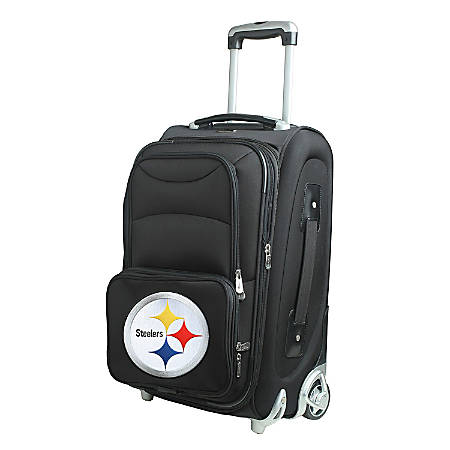 "Denco Nylon Expandable Upright Rolling Carry-On Luggage, 21""H x 13""W x 9""D, Pittsburgh Steelers, Black"