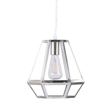 "Southern Enterprises Draco Metal Caged LED Pendant Lamp, 11""H, Brushed Nickel"