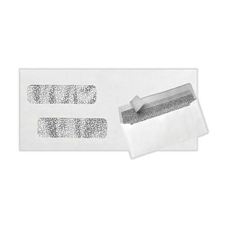 """LUX Double-Window Invoice Envelopes With Peel & Press Closure, #10, 4 1/8"""" x 9 1/8"""", White, Pack Of 50"""