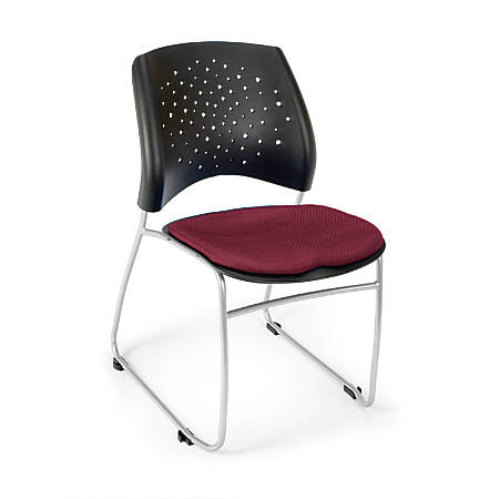 OFM Stars And Moon Stack Chairs, Burgundy, Set Of 4