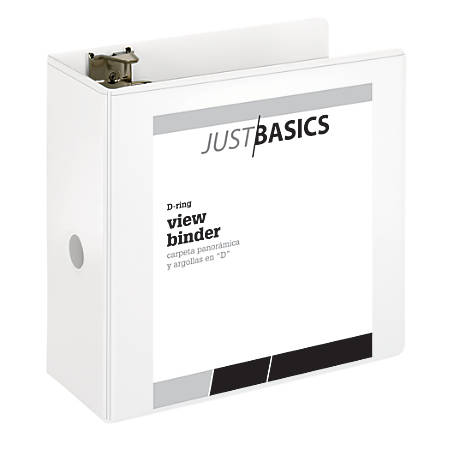 "Just Basics D-Ring View Binder, Basic, 5"" Rings, 38% Recycled, White"