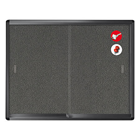"""MasterVision® Enclosed Fabric Bulletin Board Cabinet With Aluminum Frame And Glass Slide Doors, 36"""" x 48"""", Grey/Graphite"""