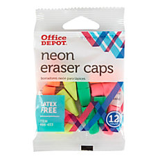 Office Depot Brand Neon Eraser Caps