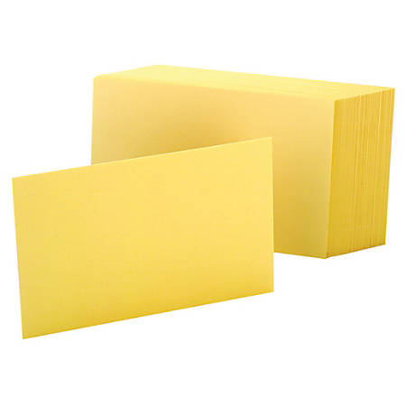 """Oxford® Color Index Cards, Unruled, 4"""" x 6"""", Canary, Pack Of 100"""