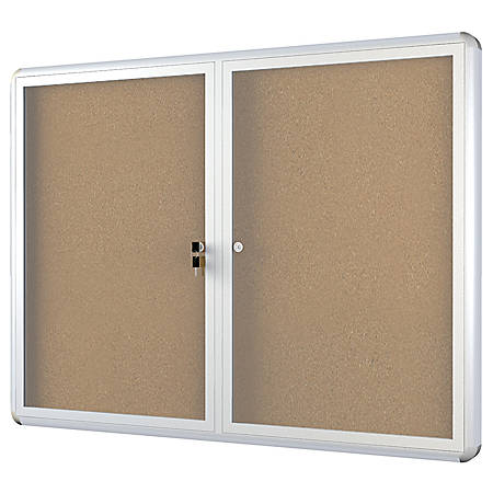"MasterVision™ Anodized Aluminum Frame Enclosed Cork Bulletin Board, 2 Doors, 36"" x 48"""