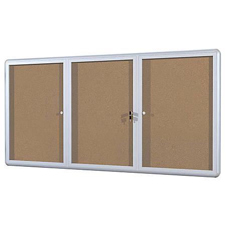 "MasterVision™ Anodized Aluminum Frame Enclosed Cork Bulletin Board, 3 Doors, 36"" x 72"""