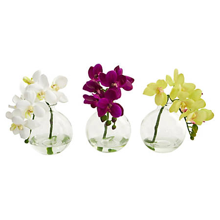 "Nearly Natural 9""H 3-Piece Artificial Phalaenopsis Orchid Set With Vase, Multicolor"