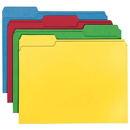 Smead® CutLess®/WaterShed® File Folders, Letter Size, 1/3 Cut, 30% Recycled, Assorted Colors, Box Of 100