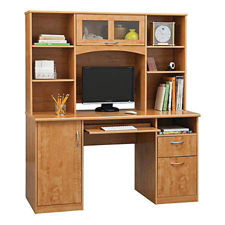 "Realspace® Landon 56""W Desk With Hutch, Oak"