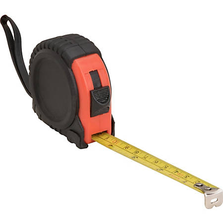 Genuine Joe Tape Measure - Imperial Measuring System - 1 Each - Red, Black