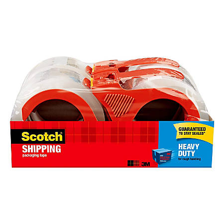 "Scotch® Heavy-Duty Shipping Packing Tape With Dispenser, 1 7/8"" x 54.6 Yd., Pack Of 4"
