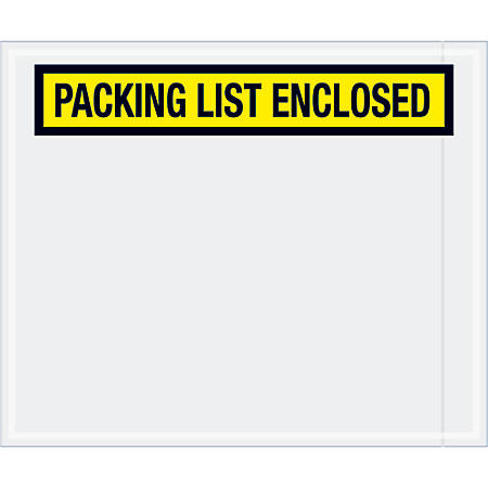 """Tape Logic® Preprinted Packing List Envelopes, Packing List Enclosed, 10"""" x 12"""", Yellow, Case Of 500"""