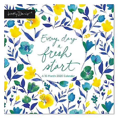 """Mead® Kathy Davis Every Day A Fresh Start Monthly Wall Calendar, 12"""" x 12"""", January To December 2020, ODW08328"""