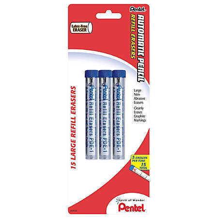 Pentel® Quicker Clicker™ Eraser Refills, Pack Of 15
