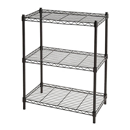 Realspace Wire Shelving 3 Shelves 30 H x 23 W x 13 D Black
