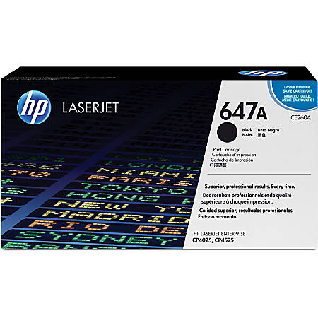 HP 647A, Black Original Toner Cartridge (CE260A)