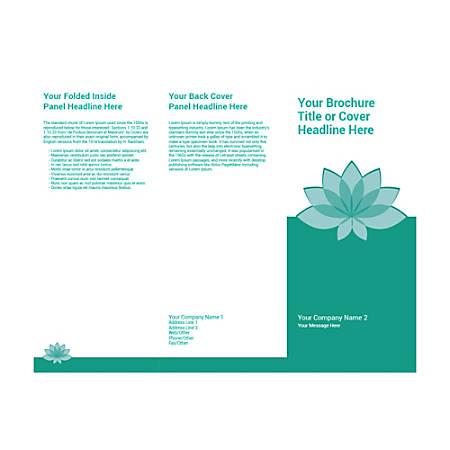 Customizable Trifold Brochure, Teal Spa Flower