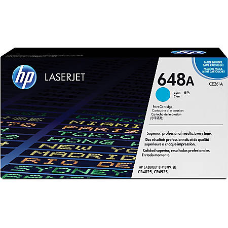 HP 648A, Cyan Original Toner Cartridge (CE261A)