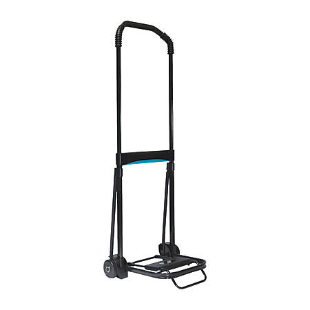 Kantek Telescopic Handle Folding Cart, 110 Lb Capacity, Black