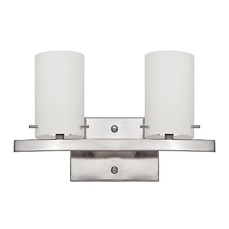 Luminance LED 2 Light Vanity Wall Mount Fixture, 16 Watts, 3000K/Warm White, 1440 Lumen, Bright Satin Nickel/Opal Glass