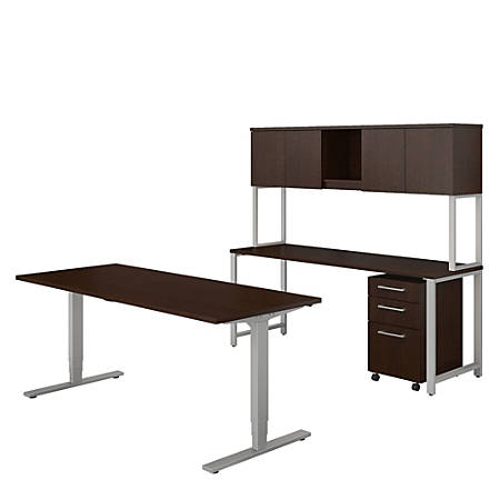 Bush Business Furniture 400 Series Height Adjustable Standing Desk with Credenza, Hutch and Storage, Mocha Cherry, Standard Delivery