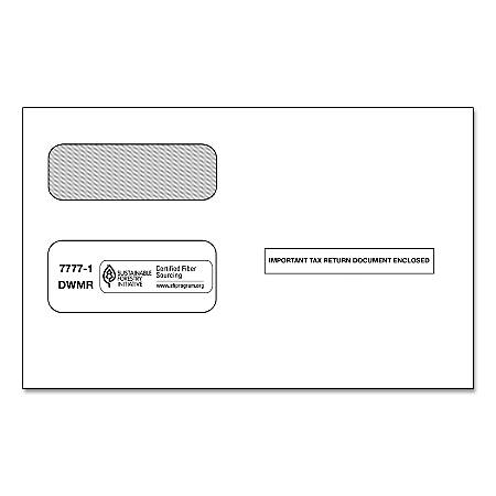 """ComplyRight™ Double-Window Envelopes For Standard IRS 2-Up 1099 Formats, Moisture Seal, 5 5/8"""" x 9"""", Pack Of 100 Envelopes"""