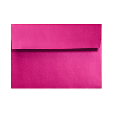 "LUX Invitation Envelopes With Moisture Closure, A7, 5 1/4"" x 7 1/4"", Hottie Pink, Pack Of 50"