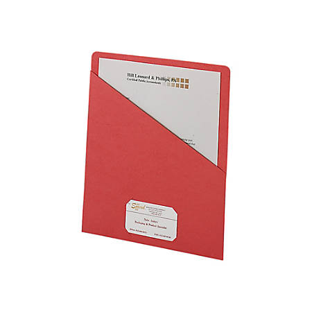 """Smead® Slash File Jackets Convenience Pack, 9 1/2"""" x 11 3/4"""", Red, Pack Of 25"""