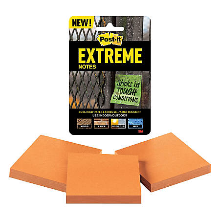 "Post-it® Extreme Notes, 3"" x 3"", Orange, Pack Of 3 Pads"