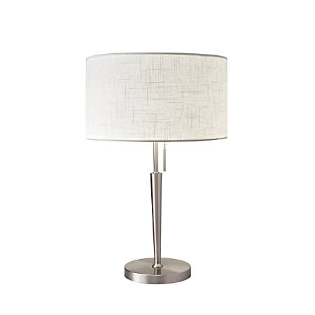 """Adesso® Hayworth Table Lamp, 22""""H, White Shade/Steel Base"""