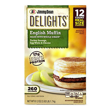 Jimmy Dean Delights Turkey Sausage, Egg White & Cheese English Muffins, 61.12 Oz, Box Of 12 English Muffins