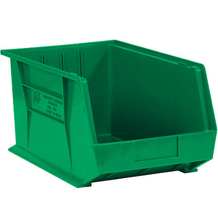 "Office Depot® Brand Plastic Stack And Hang Bin Boxes, 5 3/8"" x 4 1/8"" x 3"", Green, Pack Of 24"