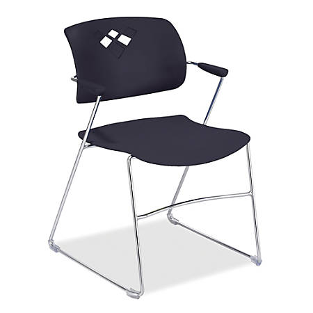 """Safco® Veer Flex-Frame Stacking Chairs, 32 1/2""""H x 21 1/4""""W x 22""""D, Black, Pack Of 4"""