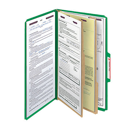 Smead® Pressboard Classification Folder With SafeSHIELD Fastener, 2 Dividers, Legal Size, 50% Recycled, Green