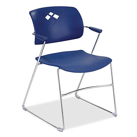 "Safco® Veer Flex-Frame Stacking Chairs, 32 1/2""H x 21 1/4""W x 22""D, Blue, Pack Of 4"