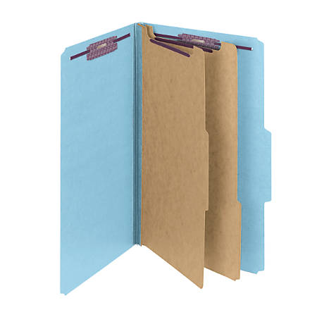 Smead® Pressboard Classification Folder With SafeSHIELD Fastener, 2 Dividers, Legal Size, 50% Recycled, Blue