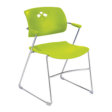 """Safco® Veer Flex-Frame Stacking Chairs, 32 1/2""""H x 21 1/4""""W x 22""""D, Grass, Pack Of 4"""