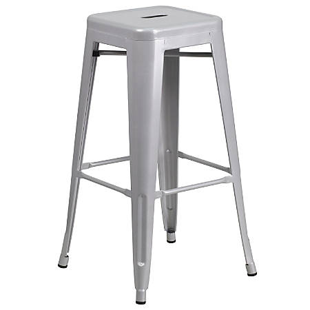 Flash Furniture Commercial Backless Bar Stool, Silver