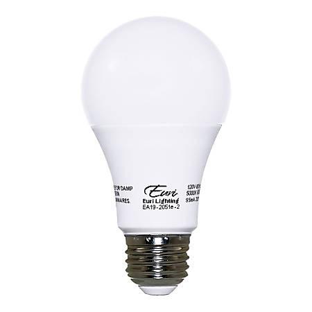 Euri A19 Standard Dimmable LED Bulbs, 9.5 Watts, 5000 Kelvin/Daylight, 800 Lumens, Pack Of 10 Light Bulbs